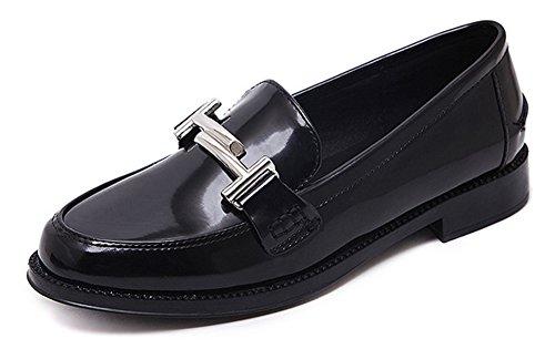 Souliers Noir On Femme Mocassins Talon Petit Aisun Loafers Slip Basse Mode IYIAvp