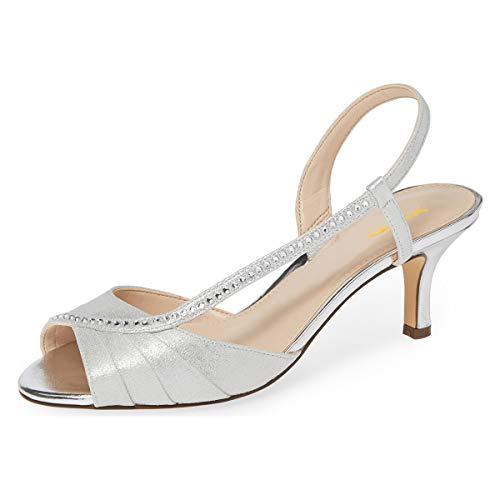 XYD Women Comfy Peep Toe Low Heel Sandals Strappy Satin Slingback Wedding Bridal Dress Shoes with Rhinestones Size 8.5 Silver