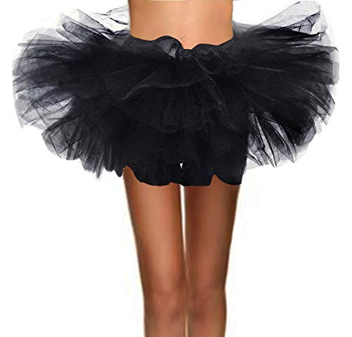 T-Crossworld Women's Classic 5 Layered Puffy Mini Tulle Tutu Bubble Ballet Skirt Black Small]()