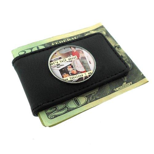 I'm Fabulous! Retro Housewife Black Money Clip Wallet Leather Magnet D-415
