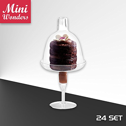 Pedestal Cake Dome - MINI WONDERS Tiny Cake Dome with High Pedestal | 24 Pack | Clear Plastic | Disposable | For Chocolate, Cheese, Coconut Macaroons, Rum Balls, Candies & More!