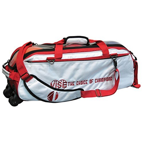 Vise Clear Top 3 Ball Roller Bowling Bag- White/Red