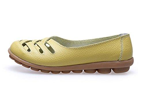 KEESKY Damen Leder Casual Ausgeschnitten Loafers Flache Slip-On Schuhe Hellgelb