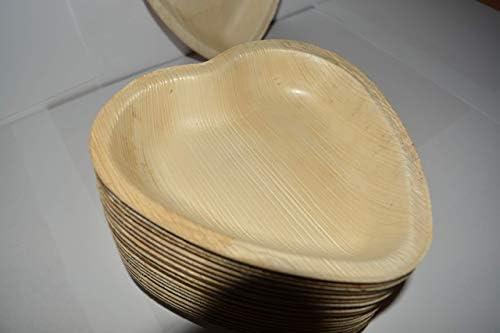 Palma Placas de corazón, 25 piezas, plato natural desechable ...