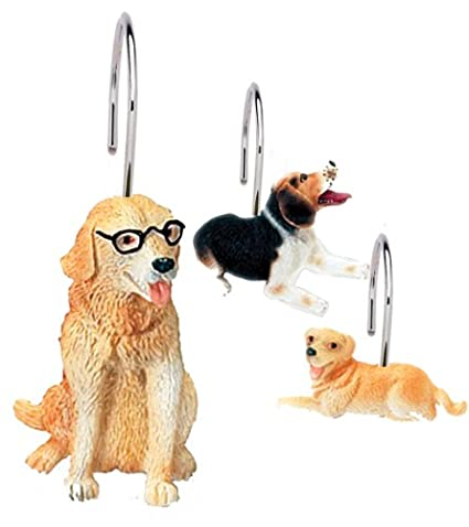 Carnation Home Fashions Dog World Resin Shower Curtain Hooks