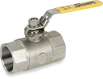 Sharpe Valves 54576 Series Stainless Steel 316 Ball Valve with Mounting Pad, Two Piece, Inline, Lever Handle, NPT Female