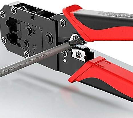 SNOWINSPRING Herramienta de Engarce RJ45 con Cerradura Cortador de Pelador de Cable para Cat5 Cat6 Cat7 6P8P Herramienta de Reparaci/óN de Red Que Prensa Pinzas de Metal