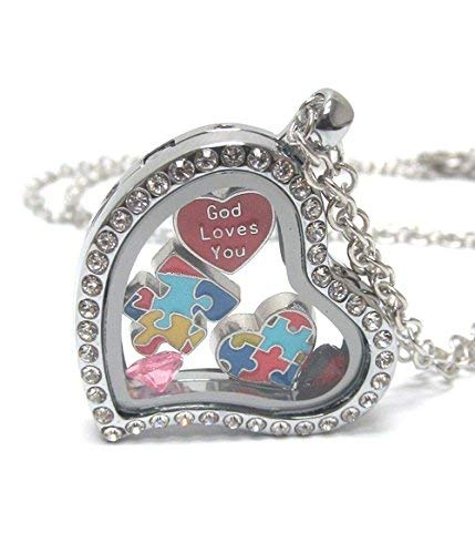 - Lola Bella Gifts Crystal Autism Awareness Necklace w Gift Box