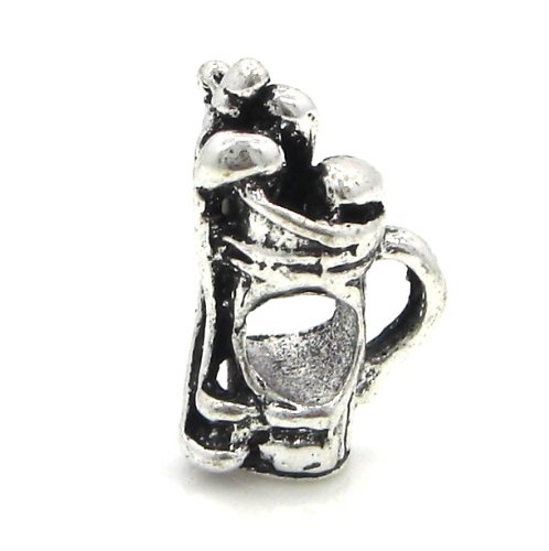"""Jewelry Monster """"Golf Clubs"""" Charm Bead for Snake Chain Charm Bracelet"""