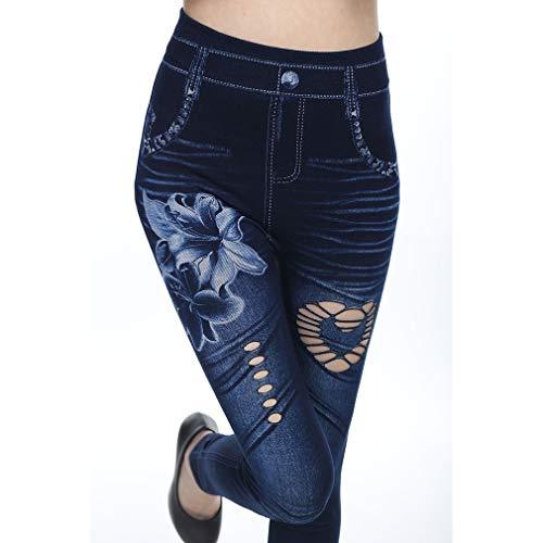 Lunghi Blu Loto nero Fiore Piedi Donna Buco Imitazione Alta Moda Vita C Stampa Pantaloni Denim Traspirante Cavità Cowboy Rotto Piccoli wZtqxTZa
