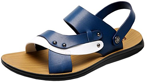 Fashion Leather Summer PU Comfort Adult Shoes Beach Vocni Casual Blue Mens Outdoor Sandals YzqwppAt