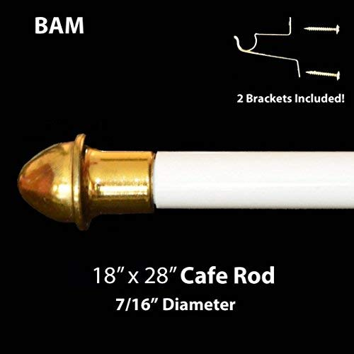 """Royal Trading White Cafe Rod. Adjustable from 18"""" to 28"""". All Hardware Included."""