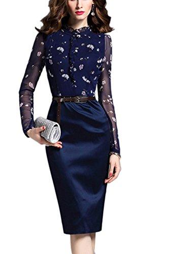 Elegantes Langarm schiere OL Kleid mit Gürtel für Damen mzBw88