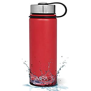 MIRA 18 Oz Stainless Steel Vacuum Insulated Wide Mouth Water Bottle | Thermos Keeps Cold for 24 hours, Hot for 12 hours | Double Walled Powder Coated Travel Flask | Red