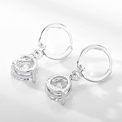 CARSINEL Classical Cubic Zirconia Necklace & Earrings Jewelry Set for Brides Bridesmaid Wedding Party Prom(White-4PCS) by CARSINEL (Image #5)