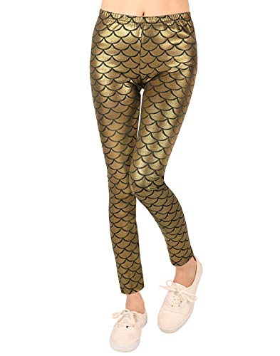 HDE Girl's Shiny Fish Scale Mermaid Leggings Metallic Costume Tights (4T-12) (Gold, -