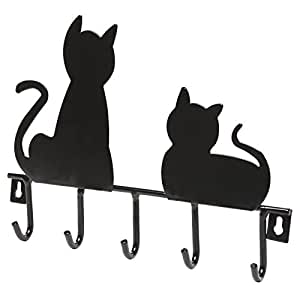 Black Cats Wall Mounted 5 Key Hooks Metal Hanger Rack