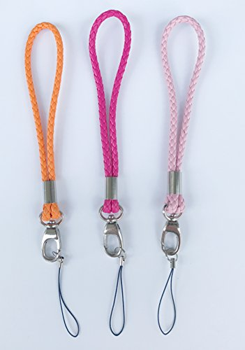 Fashion PU Braided Hand Wrist Strap[3Pack] Leather Wrist Lanyard with J-Hook for Camera & Cell Phone & Purse& keychain-Straps Around Your Wrist-Assorted Different Color (ORANGE/RED ROSE/PINK)