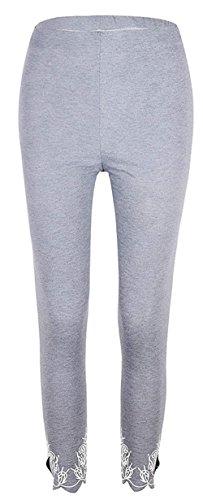 Leggins Donna Elegante Estivi Cintura Elastica Monocromo Pantaloni Tuta Slim Fit Moda Pantalone Pants Damigella Grau
