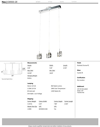 ET2 E30503-20 Neo 3-Light Linear Pendant, Polished Chrome Finish, Crystal Glass, 12V G4 Xenon Bulb, 40W Max., Dry Safety Rated, 2900K Color Temp., Low-Voltage Electronic Dimmer, Glass Shade Material, 7500 Rated Lumens by ET2 Lighting (Image #2)
