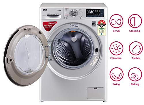 LG 8 kg 5 Star Inverter Wi-Fi Fully-Automatic Front Loading Washing Machine (FHT1408ZWL, Luxury Silver, Steam) 2021 June Fully-automatic front load washing machine: best wash quality, energy and water efficient Capacity 8 kg: Suitable for large families Energy Rating 5 Star: Best in class efficiency