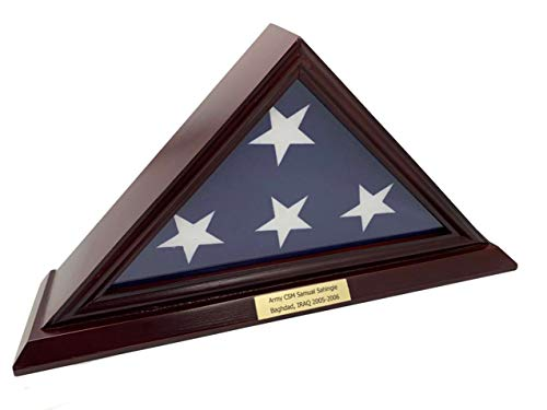 - DECOMIL - 3'x5' Flag Display Case, Shadow Box (Not for Burial Funeral Flag), Solid Wood, Cherry Finish, Customize