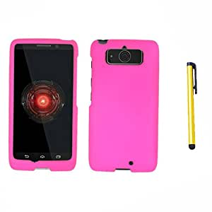 Hard Plastic Snap on Cover Fits Motorola XT1030 Droid Mini Hot Pink Rubberized + A Gold Color Stylus/Pen Verizon