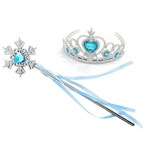 Kuzhi Frozen Crown Tiara and Wand Set – Silver Heart Jewel (Blue,Snowflake -