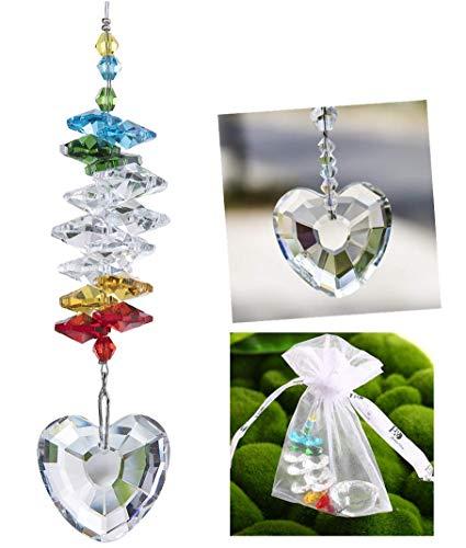 H&D Heart Shape Window Pendant Crystal Suncatcher Fengshui Rainbow Maker Chandelier Ball Prism
