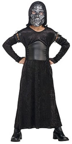 Harry Potter Bellatrix Lestrange Costume (Harry Potter And The Deathly Hallows, Child's Death Eater Bellatrix Costume And Mask, Large)