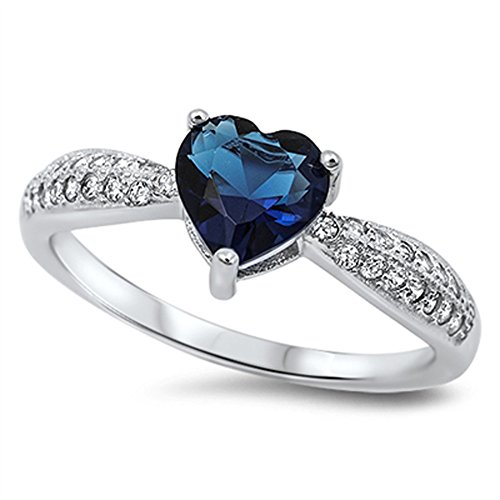 Heart Dark Blue CZ Promise Ring .925 Sterling Silver Cluster Band
