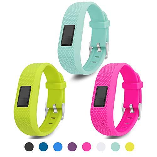 Mosstek Compatible with Garmin Vivofit 3/jr/jr 2 Bands, Soft Silicone Replacement Sport Wristbands for Kids Girls Boys Women Men Small Large