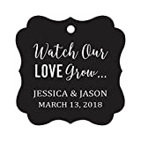 Darling Souvenir 'Watch Our Love Grow' Custom Paper Tags Wedding Bonbonniere Favor Gift Hang Tags-Black-100 Tags