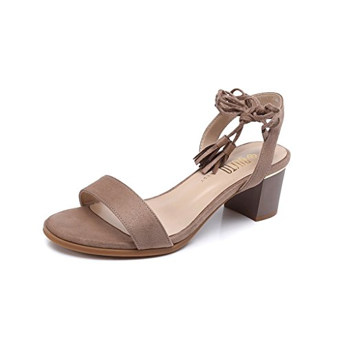 Ladies Sexy Sandals Summer Exposed Toe High Heels Simple Casual Shoes (Color : Brown, Size : 34)