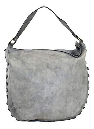 BZNA Bag Samanta jeans blå Italien designer dam handväska axelväska väska läder Shopper ny