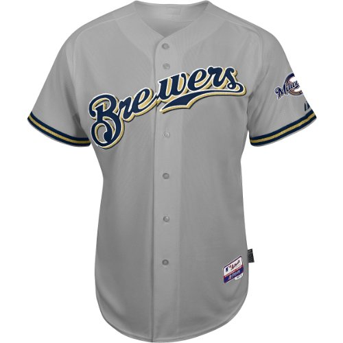 Majestic Athletic Milwaukee Brewers Blank Authentic Road Cool Base Jersey - Size: Size 40, (Cool Road Jersey Base)