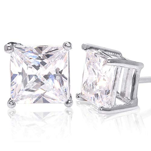Square Princess Cut 12mm white Cubic Zirconia .925 Sterling Silver Basket Setting Unisex Stud Earrings ()