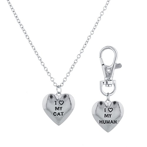 Lux Accessories Silver Tone Love My Cat I Love Human Matching Necklace Keychain Set of 2 -