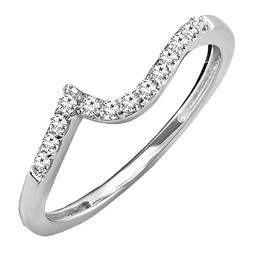White Gold Contour Engagement Ring - 7