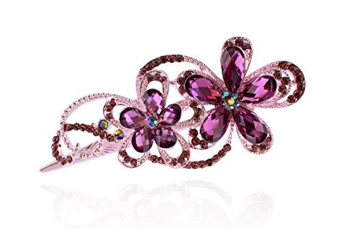 Id Rose Brooch (Totoroforet Geminate Flower Vintage / Retro Style Bronze Rhinestone Hair Clip/ Claw/Barrette (Noble Purple))