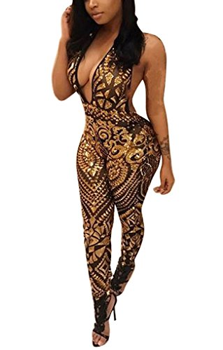 Jumpsuit Gold Sequin for Women Elegant Open Back High Waist Jumpsuit Long Pants Clubwear
