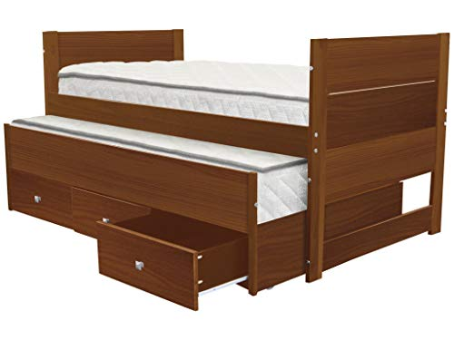 (Bedz King BK551-Expresso One Bed with Twin Trundle and 3 Built in Drawers, Expresso, Brown)
