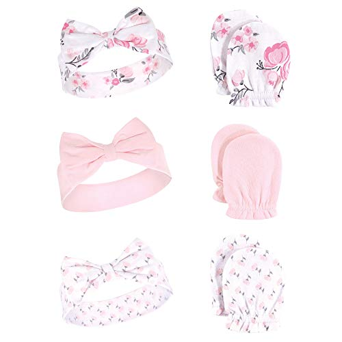 Hudson Baby Unisex Baby Cotton Headband and Scratch Mitten Set, Pink Floral, 0-6 Months