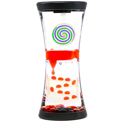 big mo's toys hypnotic liquid motion spiral timer toy for sensory play - relaxing bubble motion autism adhd toy, calming toy, sensory visual relaxation desk toy, assorted colors, one piece