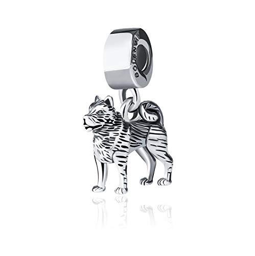 Bolenvi Siberian Husky Dog 925 Sterling Silver Clip-On Dangle Pendant X Charm Bead for Pandora & Similar Charm Bracelets…