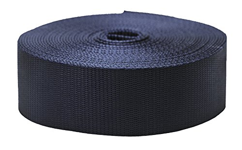 Strapworks Colored Flat Nylon Webbing - Strap For Arts And Crafts, Dog Leashes, Outdoor Activities - 2 Inches x 10 Yards, Navy Blue