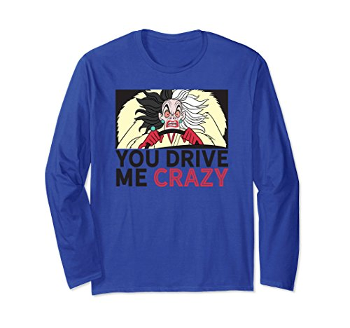 Unisex Disney Cruella De Vil Drive me crazy LS T-shirt Small Royal Blue -