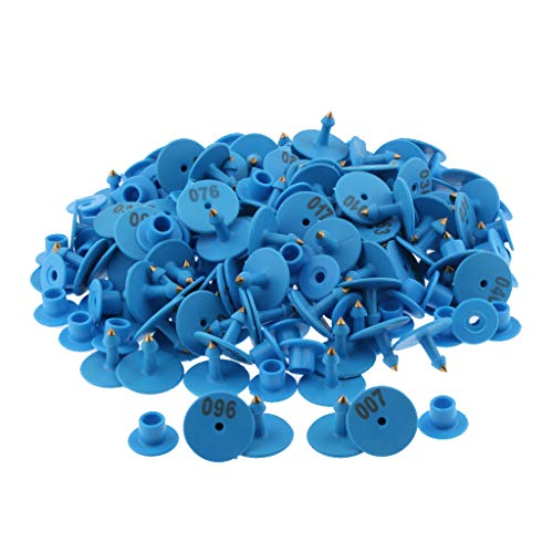 - Baosity 100PCS Small Numbered Livestock Ear Tag for Pig Cow Cattle Goat Sheep - Blue
