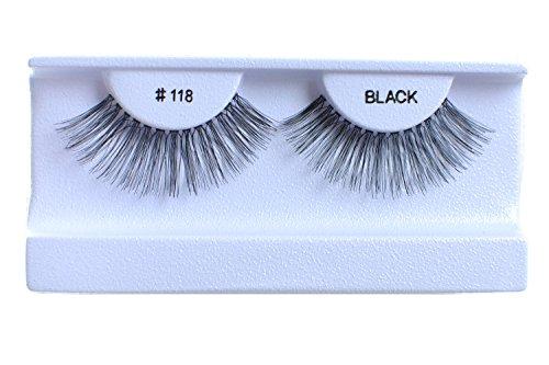 10 Pairs 100% Human Hair False Eyelashes Natural Black #118 ()