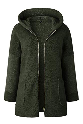 à d'hiver capuchon des Vosujotis vestes pour ouverte femmes en devant laine vert moelleux slim Veste P0wx75Yqx